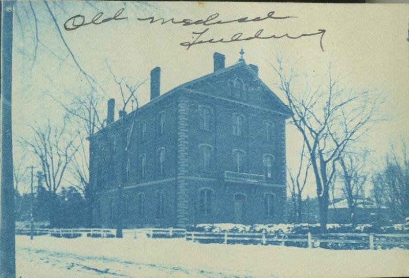 Exterior northwest view of Adams Hall, 1891. Cyanotype.