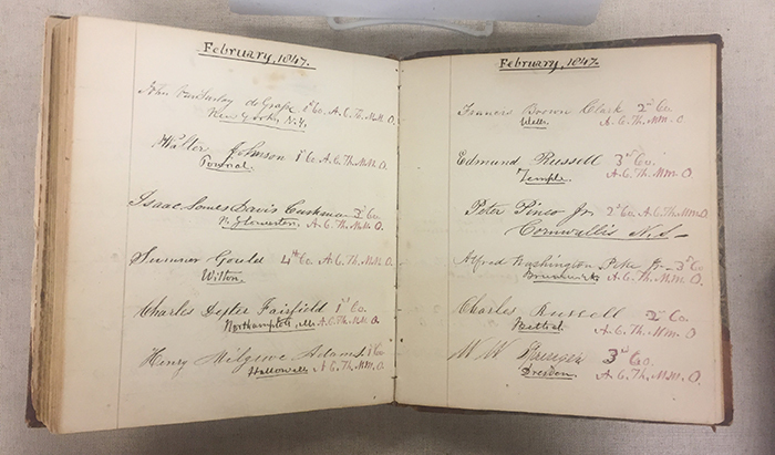 Medical School Matriculation Book, 1849-1866. Medical School of Maine Records, Bowdoin College Archives.