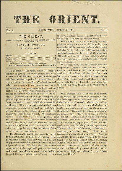 The first Issue of The Orient, April 3, 1871