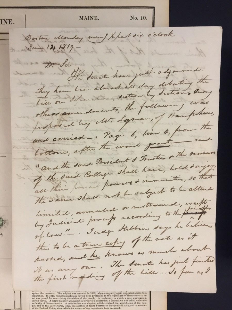 Joseph McKeen to Charles S. Daveis, June 14, 1819.
