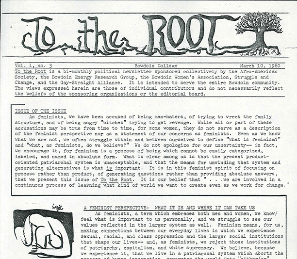 The front cover of the student publication To the Root feminist issue