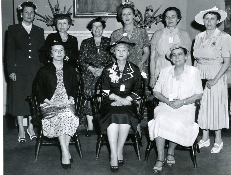 A photo of the Society of Bowdoin Women with three women seated in the front row and six women standing in the back row