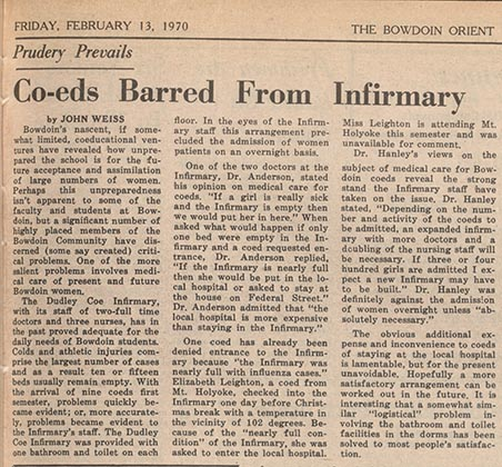 """An Orient Article entitled """"Co-eds Barred from Infirmary"""""""