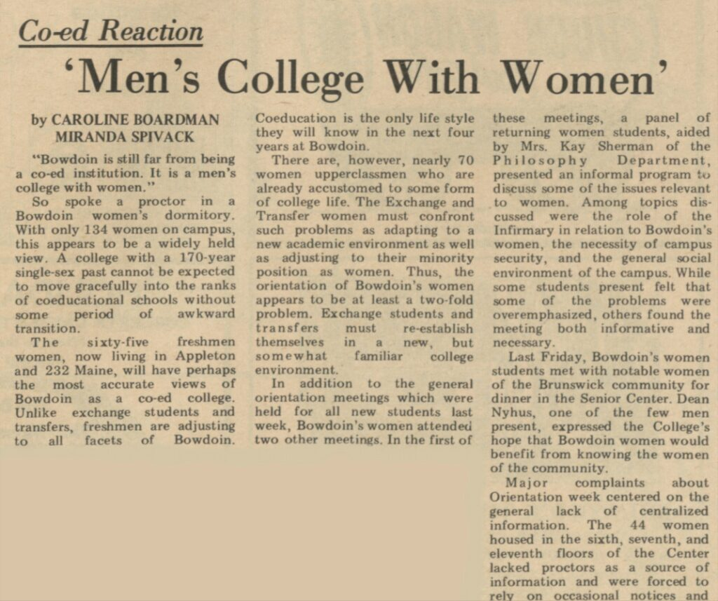 """an Orient article called """"Men's College with Women"""""""